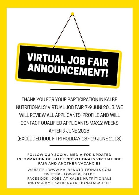 Closing Announcement Kalbe Nutritionals Virtual Job Fair 2018