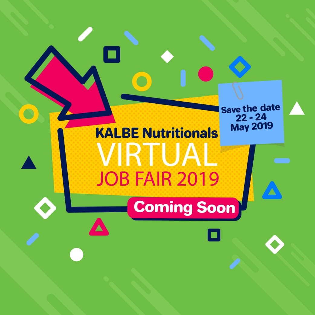 Kalbe Nutritionals Virtual Job Fair (Online Job Fair) tanggal 22-24 Mei 2019